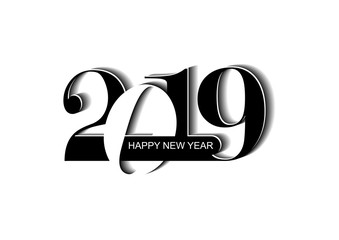 New Year's greetings with the new year 2019 and the inscription Happy New Year on a white background