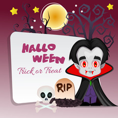 happy halloween trick or treat with dracula