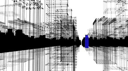 Digital skyscrapers with wire texture.