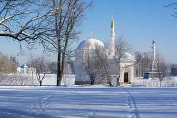 Turkish bath, Chesme column and Grotto pavilion in Catherine park in winter, Tsarskoe Selo, St. Petersburg, Russia