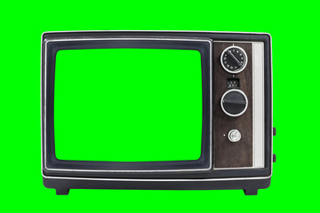 Small Vintage Portable Television with Chroma Green Screen and Background