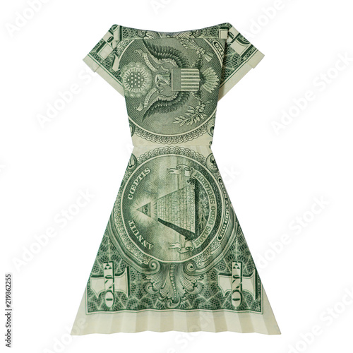 Money Origami Dress Folded With Real One Dollar Bill Isolated On