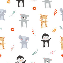 Vector seamless pattern with animals and autumn branch