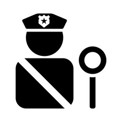 Minimalist, flat, black silhouette icon of an immigration officer. Isolated on white