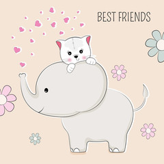 Greeting card elephant and cat the best friends.
