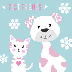 Greeting card best friends dog and cat.