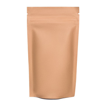 Blank brown kraft paper bag with zipper isolated on white background