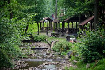 Outdoor recreation - picnic areas along a mountain river