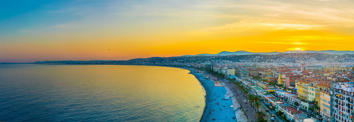 Foto auf Acrylglas Nice Sunset view of Nice, France