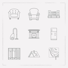 Set of interior icons line style symbols with wall painting, upholstery, roof and other icons for your web mobile app logo design.
