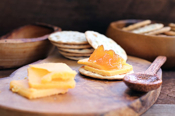 Cantaloupe Jam with Crackers and Cheese