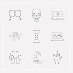 Set of anatomical icons line style symbols with oncology, blood pressure, skull and other icons for your web mobile app logo design.