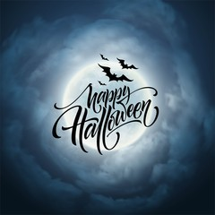 Halloween glowing night background with the moon, bats. Calligraphy, Lettering. Vector illustration