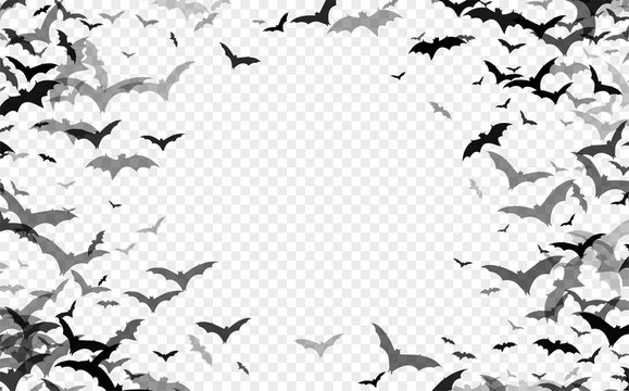 Black silhouette of bats isolated on transparent background. Halloween traditional design element. Vector illustration