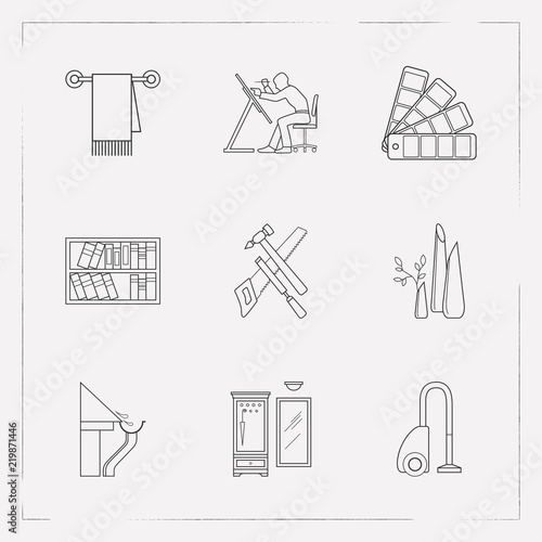 Set Of Interior Design Icons Line Style Symbols With Hallway