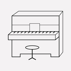 Piano icon line element. Vector illustration of piano icon line isolated on clean background for your web mobile app logo design.