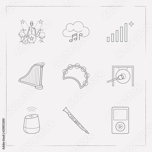 Set of music icons line style symbols with cloud music, gong