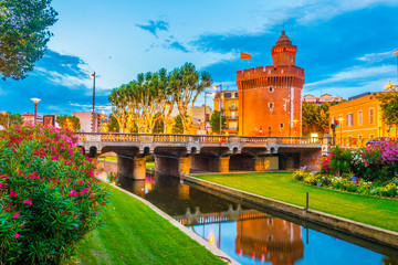 Castillet tower hosting a museum of history and culture in Perpignan, France Wall mural