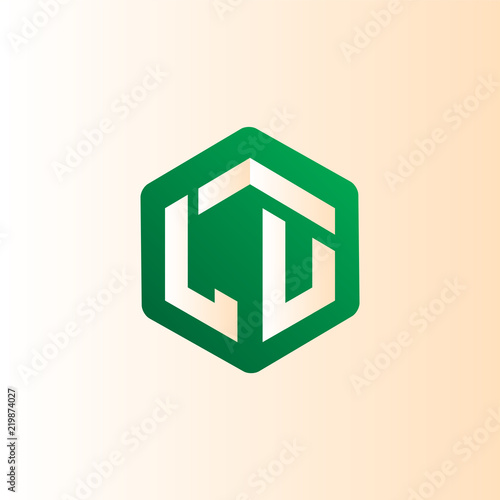 Lu Initial Letter Hexagonal Logo Vector Stock Image And Royalty