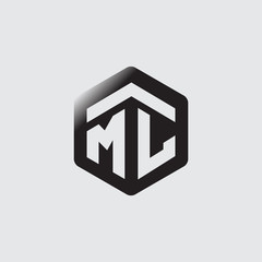 ML Initial letter hexagonal logo vector