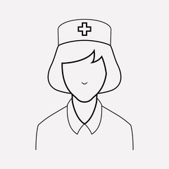 Nurse icon line element. Vector illustration of nurse icon line isolated on clean background for your web mobile app logo design.
