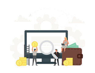 Computer with small businessmen around it vector illustration. Monitor with coins, concept of earnings in internet network, online finance, electronic wallet, freelance work, financial success.