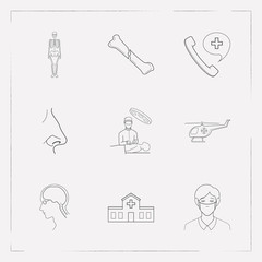 Set of anatomical icons line style symbols with medical center, ambulance call, face mask and other icons for your web mobile app logo design.
