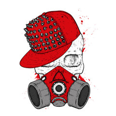 A stylish skull with a cap and respirator for graphics. A print on clothes or an illustration for a postcard and a poster. Vector drawing.  Mask.