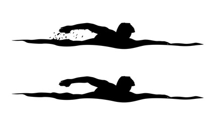 swimmer silhouettes on white