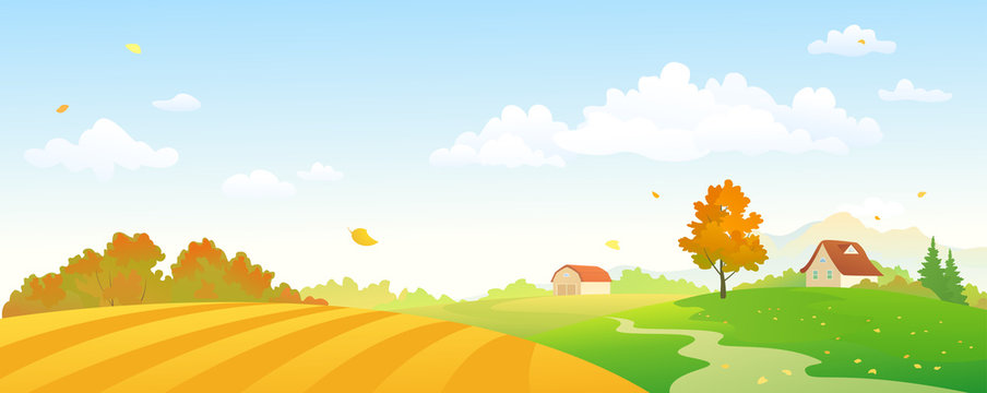 Vector cartoon illustration of an autumn farm panorama