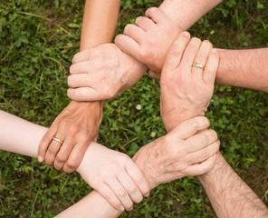 hands team spirit shake hold mixed men women grass help each other