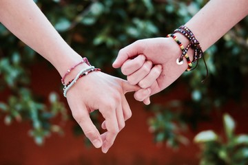 friendship friend girls girlfriend lesbian homosexual woman lady love couple help support bracelet young happy family