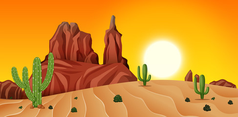 Desert scene at sunset