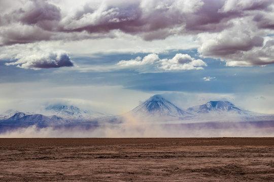 Licancabur volcano after a sandstorm and rain in Atacama desert of Chile