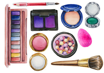 watercolor set of cosmetics
