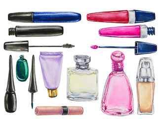 watercolor set of cosmetics