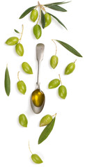 Wall Mural - Olive fruits and olive oil.  Above view.