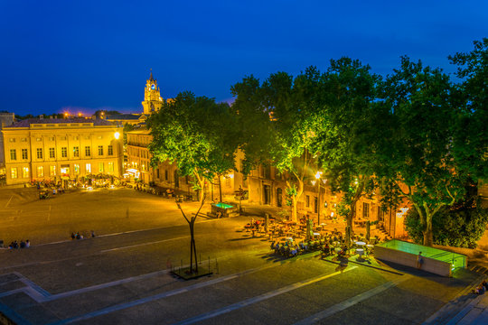 Night view of place du Palais in Avignon, France