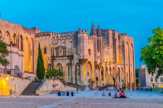 Sunset view of Palais de Papes in Avignon, France