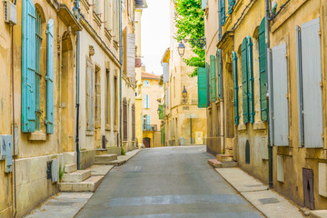 Fotobehang Zuid-Amerika land View of a narrow street in the historical center of Arles, France