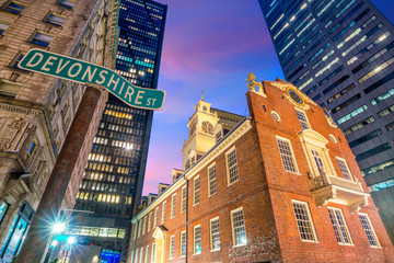 Wall Mural - Old State House at twilight in Boston