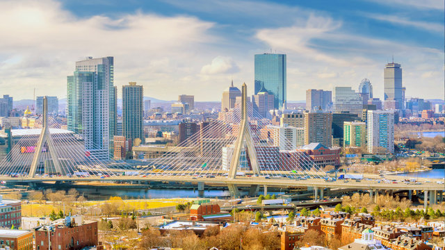 The skyline of Boston in Massachusetts, USA