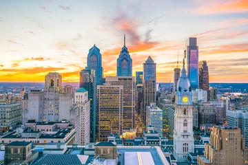 Wall Mural - Top view of downtown skyline Philadelphia USA