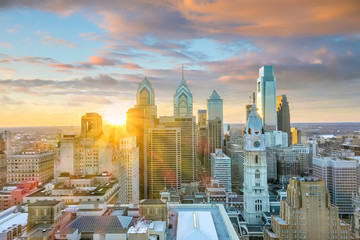 Wall Mural - Top view of downtown skyline Philadelphia USA