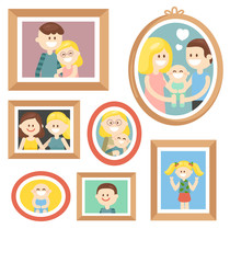 Vector collection of various photos frames with pictures of happy family with kids isolated on white background