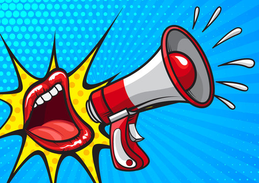 Retro pop art vector design of banner with red lips screaming in megaphone making announcement on blue background