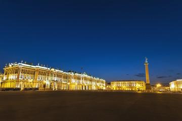Saint Petersburg night city skyline at Palace Square, Saint Petersburg Russia