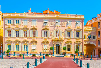 Obraz Historical buildings on Place du Palais in Monaco - fototapety do salonu