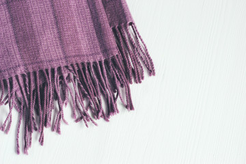 Lilac squared scarf on a white background