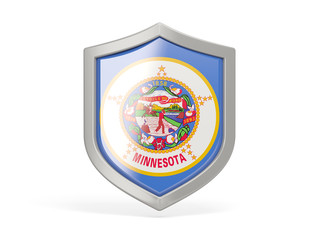 Shield icon with flag of minnesota. United states local flags